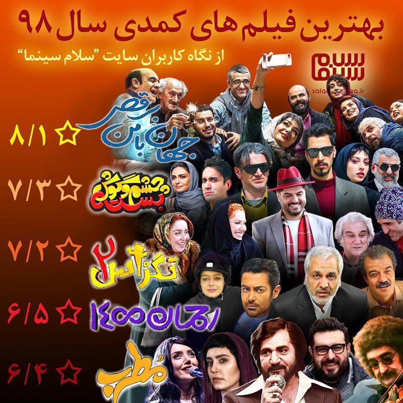 پنج فیلم برتر سینمای ایران در ژانر کمدی در سال 1398