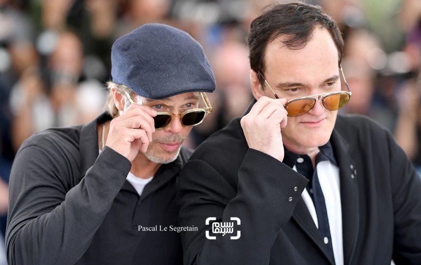 عکس کوئنتین تارانتینو و برد پیت در فتوکال فیلم «روزی روزگاری در هالیوود»(Once Upon a Time in Hollywood) در کن 2019