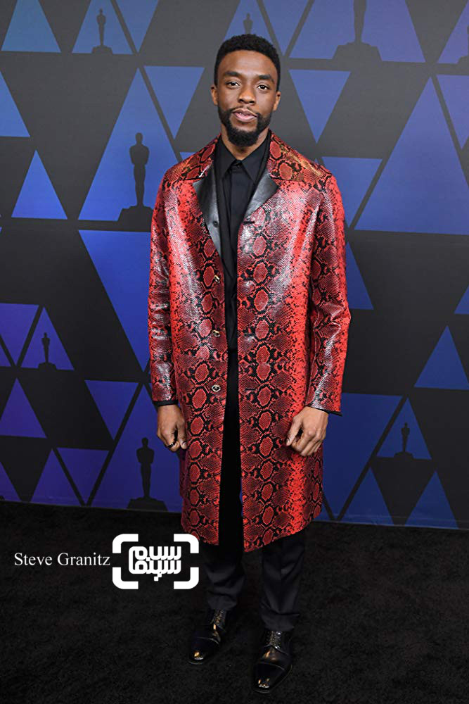 چادویک بوزمن بازیگر فیلم «پلنگ سیاه»(Black Panther) در مراسم جوایز گاونر 2018