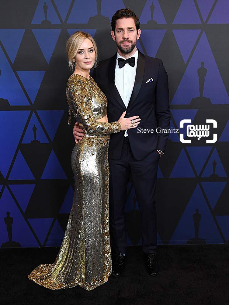 امیلی بلانت و همسرش جان کرازیسکی در مراسم جوایز گاونر 2018