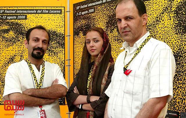 ترانه علیدوستی و اصغر فرهادی و جمال ساداتیان در جشنواره لوکارنو