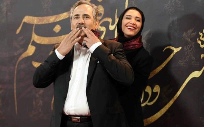 مجید مظفری و دخترش نیکی مظفری در اختتامیه سی ودومین جشنواره فیلم فجر