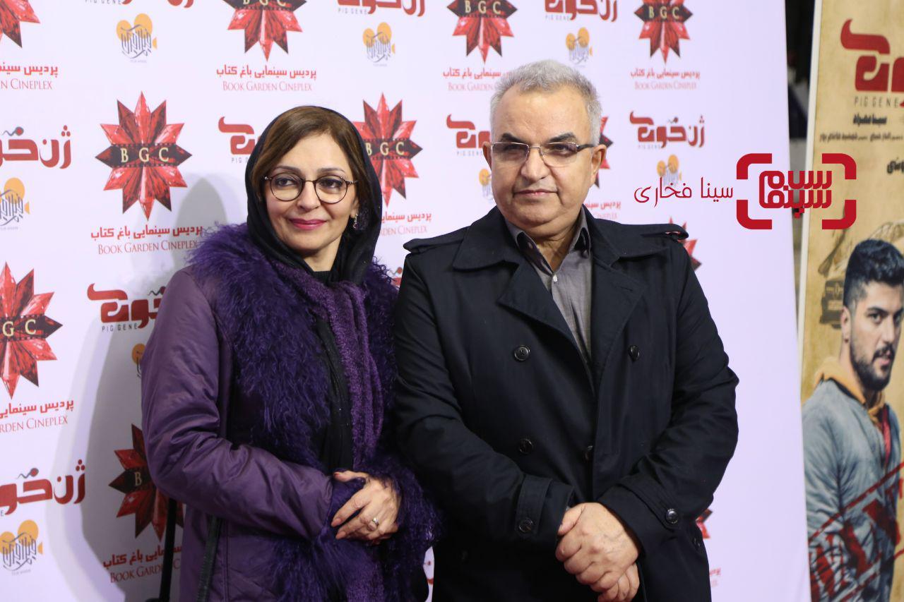 ابوالحسن داوودیو همسرشبیتا منصوریدر اکران خصوصی فیلم «ژن خوک»