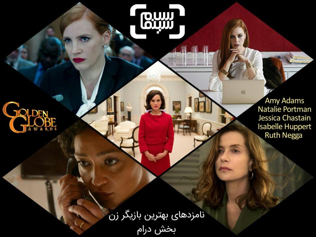 بهترین بازیگر زن بخش درام گلدن گلوب 2017  امی آدامز ، اتالی پورتمن، روث نگا ، جسیکا چستین