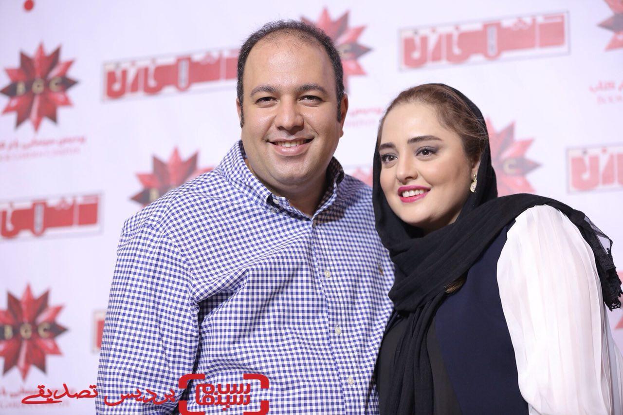نرگس محمدی و همسرش علی اوجی در اکران خصوصی فیلم «دشمن زن» در پردیس سینمایی باغ کتاب