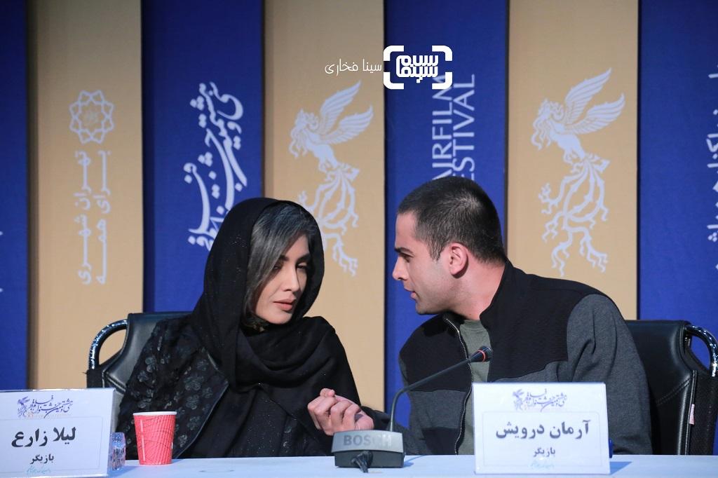 آرمان درویش - لیلا زارع - گزارش تصویری - نشست خبری فیلم «پسرکشی» - جشنواره فیلم فجر 38