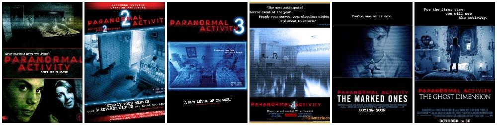 ترسناک ترین فیلم های جنی و روحی - پوستر سری فیلم های فعالیت فراطبیعی (paranormal activity)