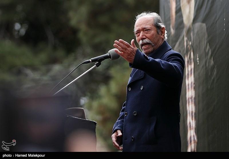 اشک های علی نصیریان - گزارش تصویری مراسم تشییع جمشید مشایخی