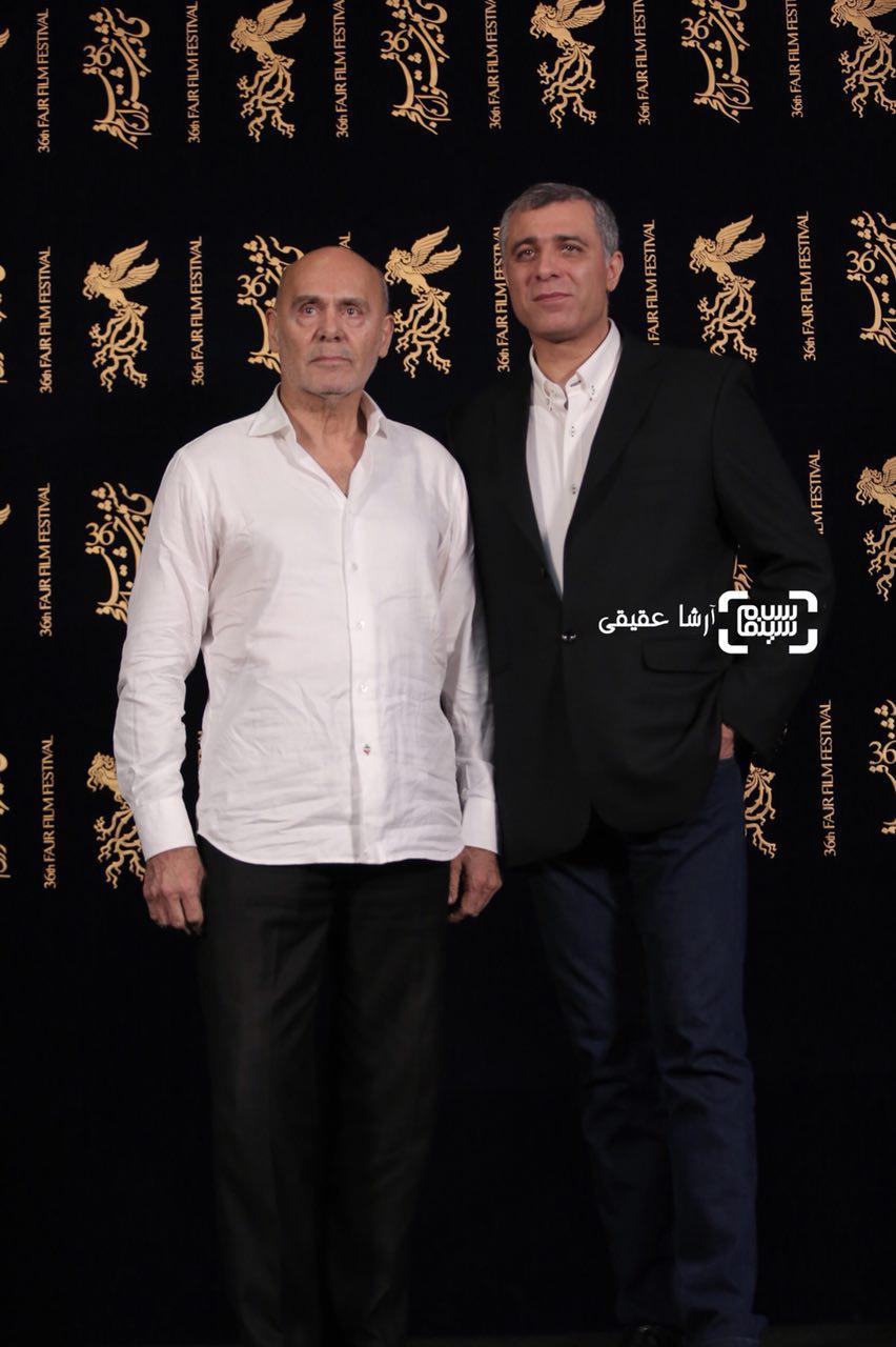 اصغر نعیمی و جمشید هاشم پور در اکران فیلم «هایلایت» در سی و ششمین جشنواره فیلم فجر