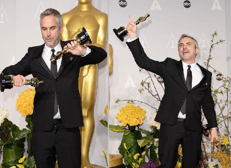 عکس آلفونسو کوارون برنده اسکارهای بهترین کارگردان و تدوین فیلم جاذبه