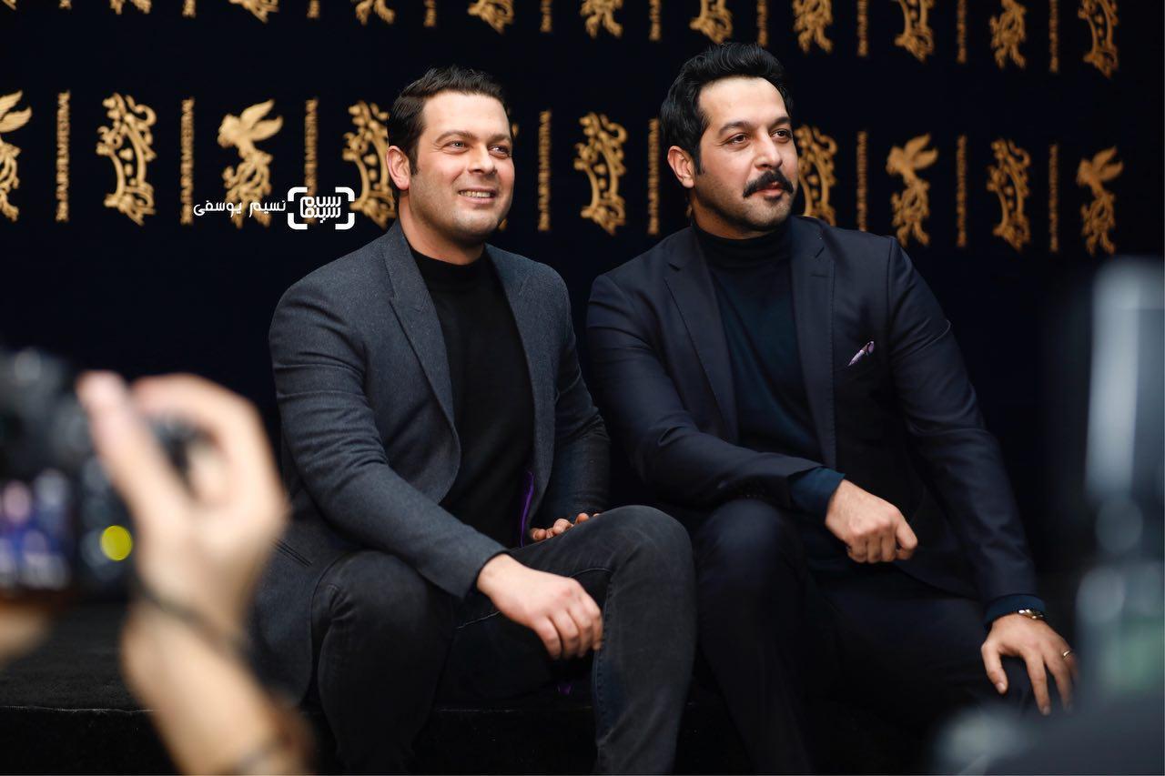 کامران تفتی و پژمان بازغی در اکران فیلم «ماهورا» در سی و ششمین جشنواره فیلم فجر
