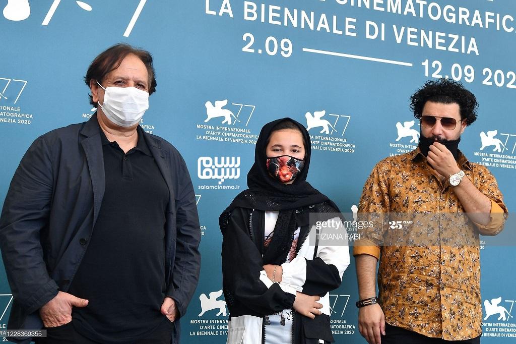 جواد عزتی، مجید مجیدی و شمیلا شیرزاد در فوتوکال فیلم خورشید در جشنواره ونیز