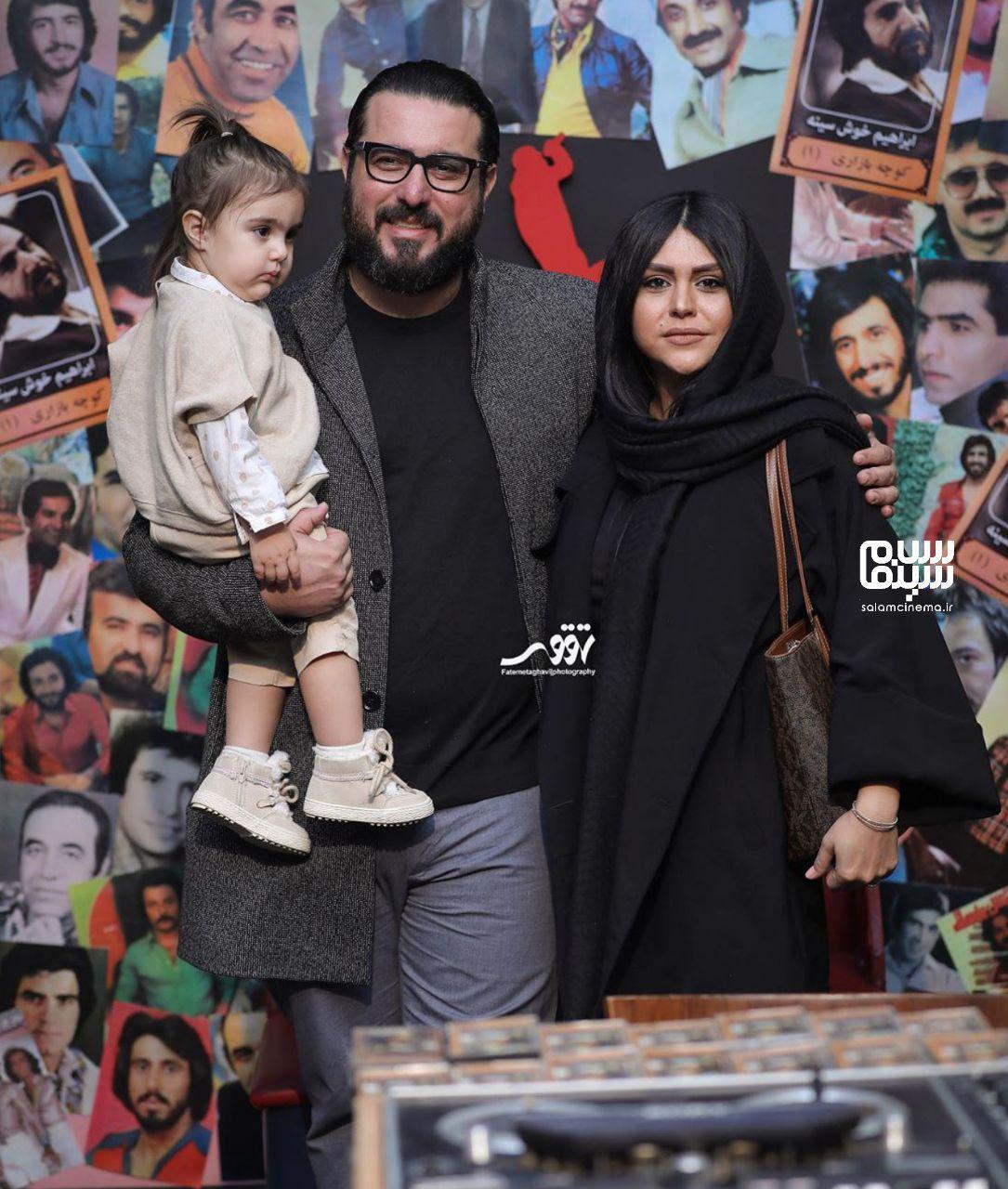 محسن کیایی و همسر و دخترش - اکران خصوصی فیلم مطرب - سینما چارسو