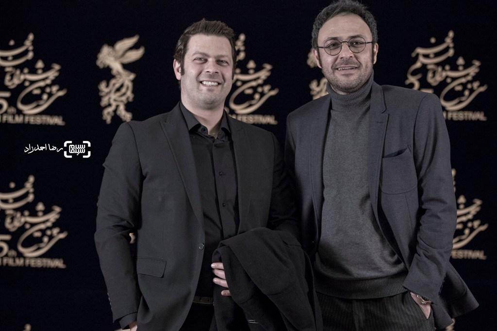 علیرضا کمالی و پژمان بازغی در اکران فیلم «اسرافیل» در سی و پنجمین جشنواره فیلم فجر