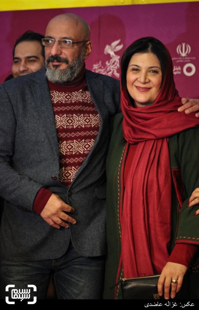 ریما رامین فر و همسرش امیر جعفری بر روی فرش قرمز فیلم «زاپاس» در کاخ سی و چهارمین جشنواره فیلم فجر