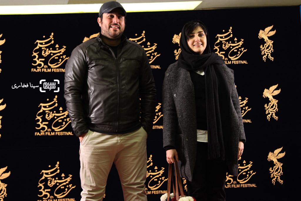 باران کوثری و محسن کیایی در اکران فیلم «سد معبر» در سی و پنجمین جشنواره فیلم فجر