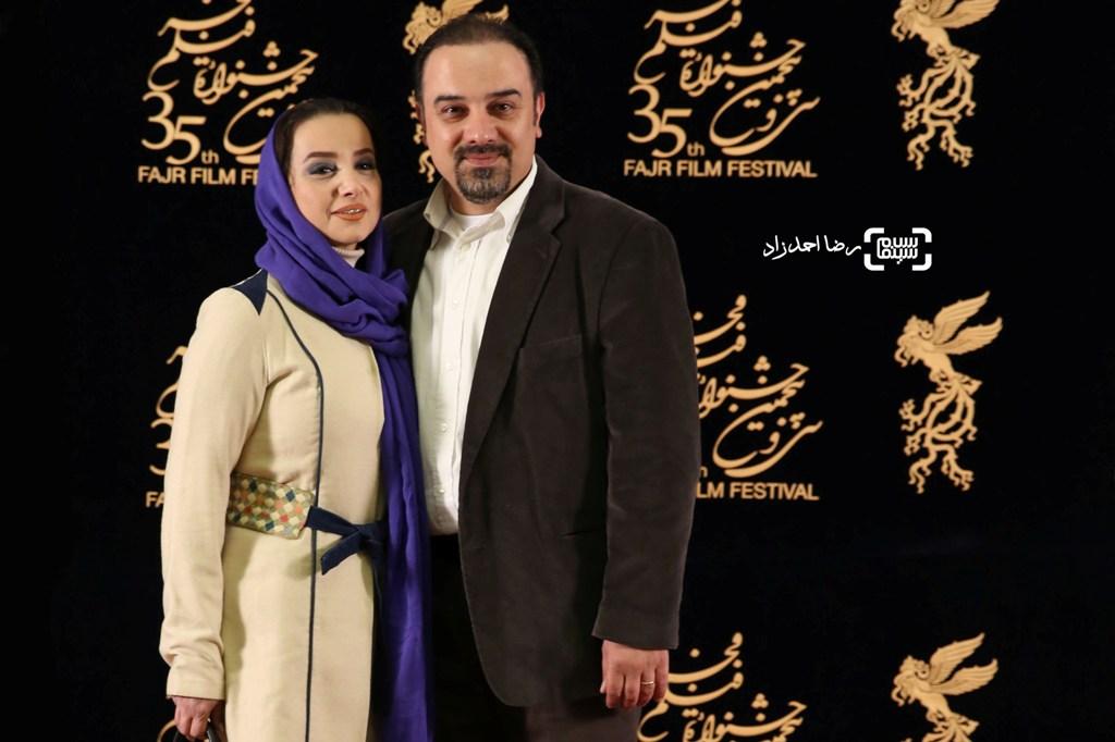 برزو ارجمند و همسرش در اکران فیلم «اشنوگل» در سی و پنجمین جشنواره فیلم فجر