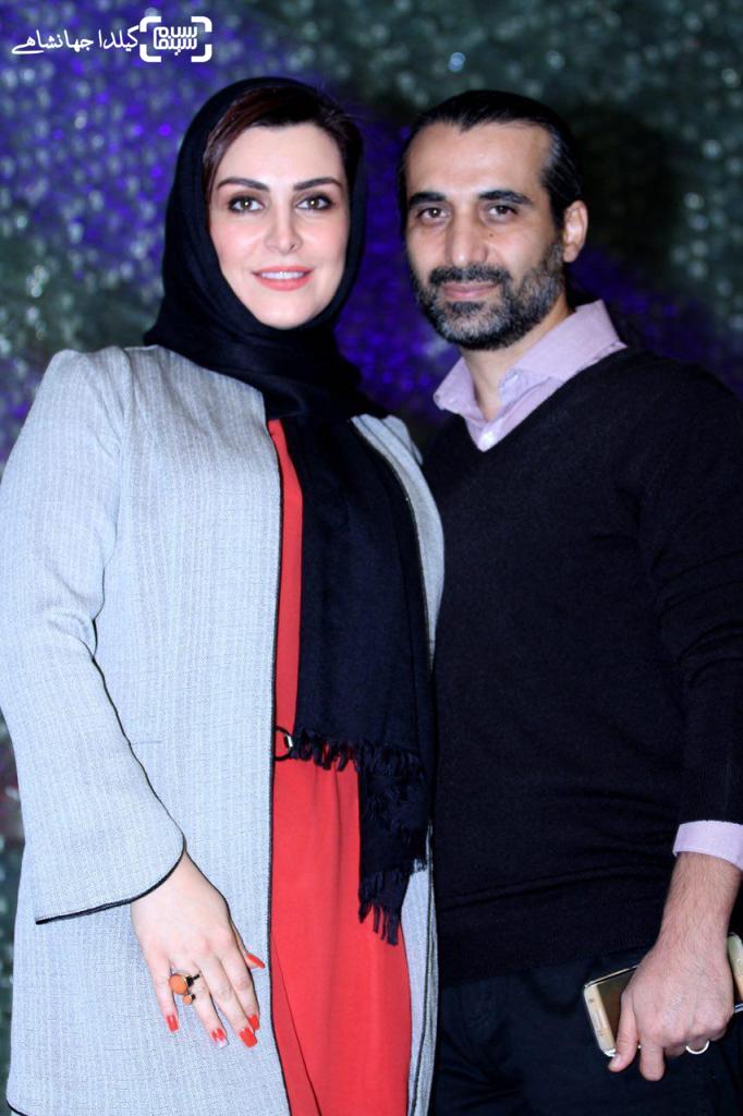 ماه چهره خلیلی و همسرش ابراهیم اشراقی در اکران خصوصی فیلم «سیانور»