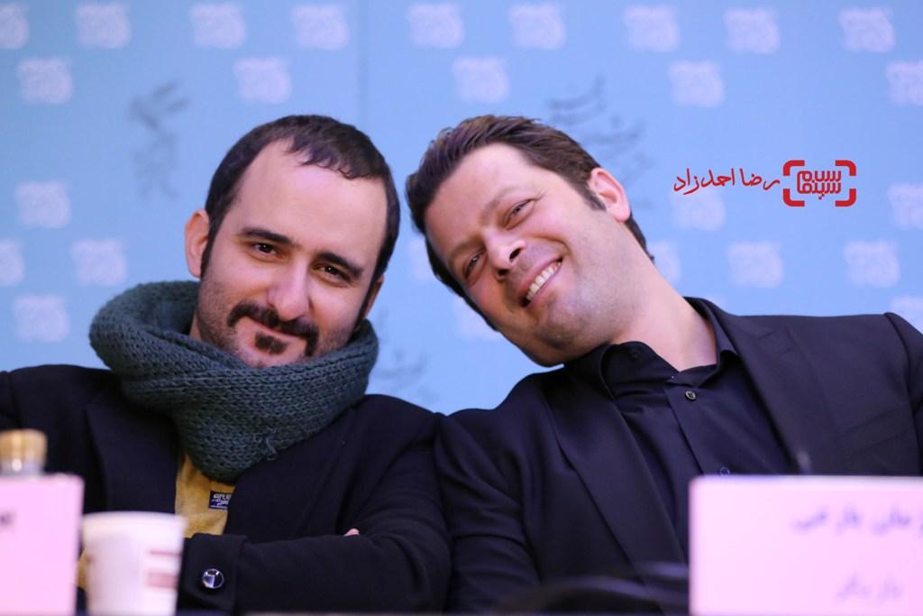 پژمان بازغی و پوریا رحیمی سام در نشست خبری فیلم «اسرافیل» در سی و پنجمین جشنواره فیلم فجر