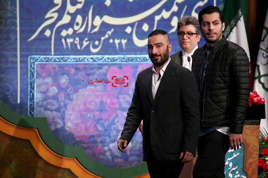 نوید محمدزاده و نوید پورفرج در اختتامیه سی و ششمین جشنواره فیلم فجر