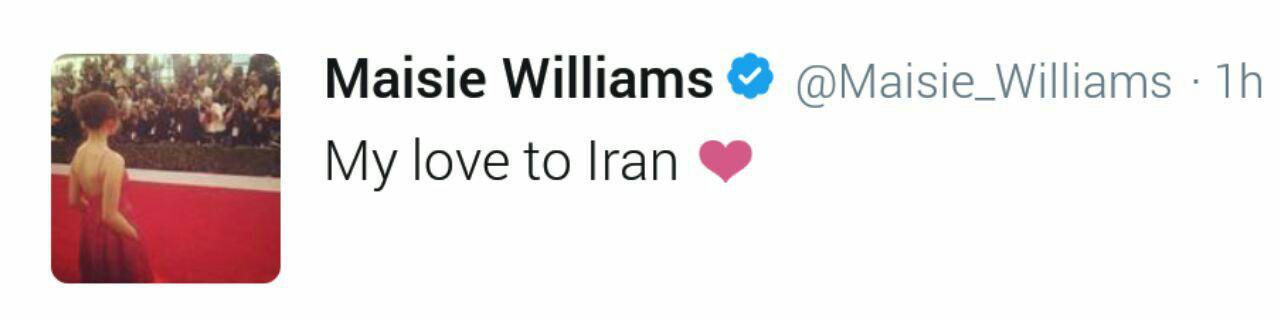 همدردی میسی ویلیامز، بازیگر game of therones به حادثه دیدگان زلزله در ایران